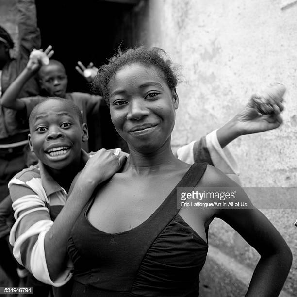 Angola Southern Africa Caconda woman and boy smiling