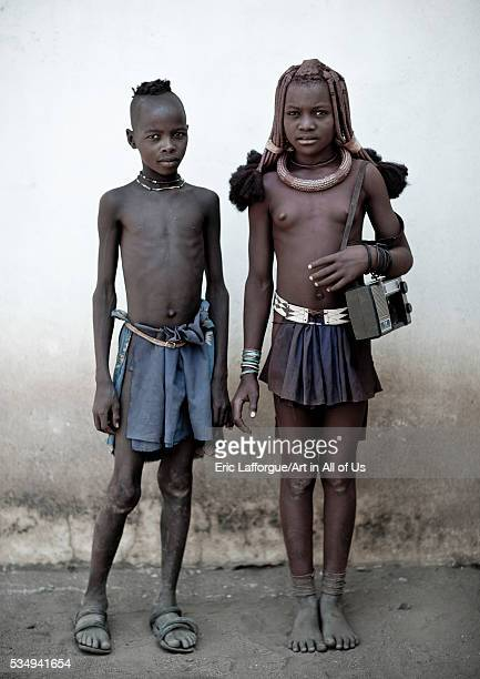Angola Southern Africa Cunene himba kids with an audio tape recorder