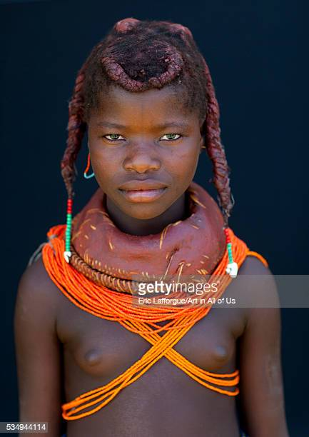 Angola Southern Africa Huila mwila girl with the traditional vikeka mud necklace