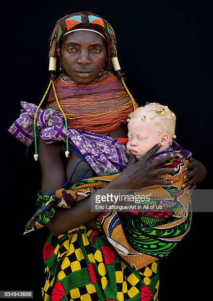 Angola Southern Africa Huila mwila mother with her albino baby