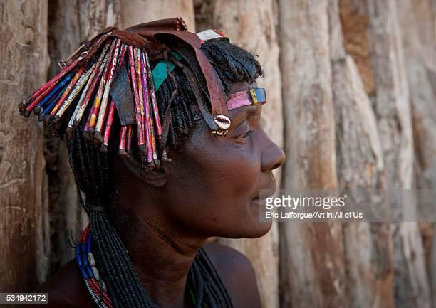 Angola Southern Africa Oncocua mucawana woman a kapapo headdress made of waste materials