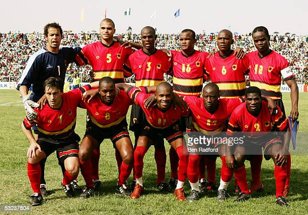 Angola team line up prior to the 2006 World Cup Qualifying match between Nigeria and Angola at the Sany Abacha Stadium on June 18 in Kano Nigeria...