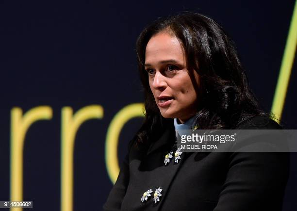 Angolan businesswoman Isabel dos Santos delivers a speech during the start of the new EFACEC Portuguese corporation's electric mobility industrial...