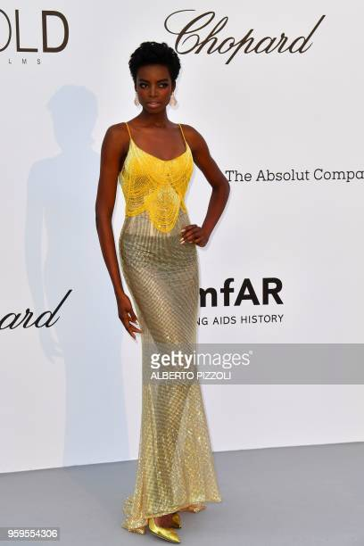 Angolan model Maria Borges arrives on May 17 2018 for the amfAR 25th Annual Cinema Against AIDS gala at the Hotel du CapEdenRoc in Cap d'Antibes...