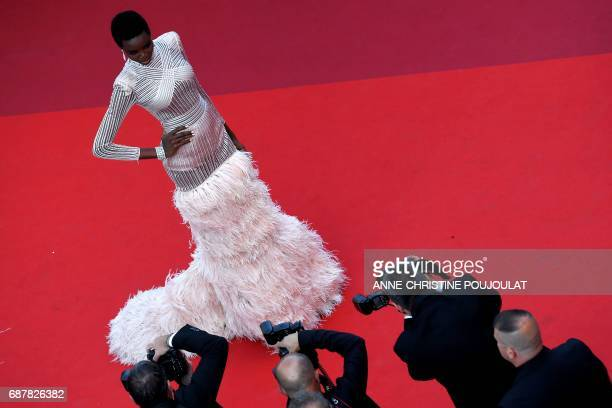 Angolan model Maria Borges poses as she arrives on May 24 2017 for the screening of the film 'The Beguiled' at the 70th edition of the Cannes Film...
