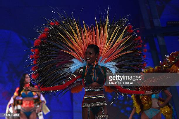 Angolan model Maria Borges presents a creation during the 2016 Victoria's Secret Fashion Show at the Grand Palais in Paris on November 30 2016 / AFP...