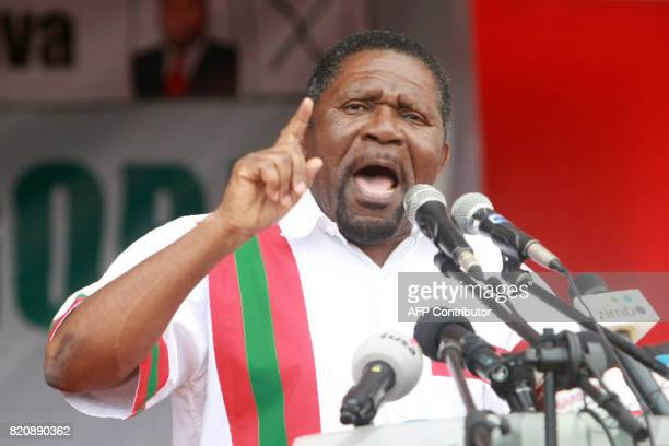 Angolan Opposition party National Union for the Total Independence of Angola leader Isaias Samakuva gives a speech during the first General Elections...