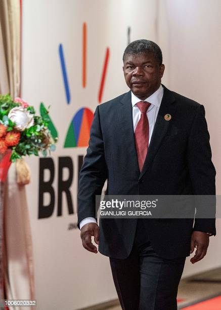 Angolan President Joao Lourenco arrives to attend a session meeting during the 10th BRICS summit on July 27 2018 in Johannesburg South Africa