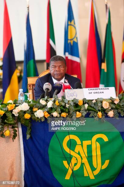 Angolan President Joao Lourenco attends a Southern African Development Community meeting on the Zimbabwe situation on November 21 2017 in Luanda...