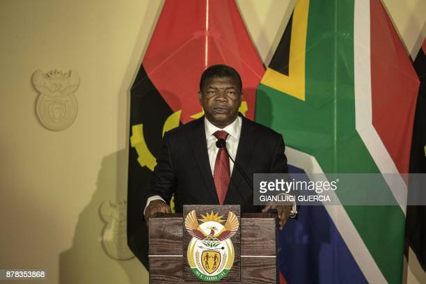 Angolan President Joao Lourenco gives a press conference with his South African counterpart on November 24 2017 in Pretoria South Africa / AFP PHOTO...