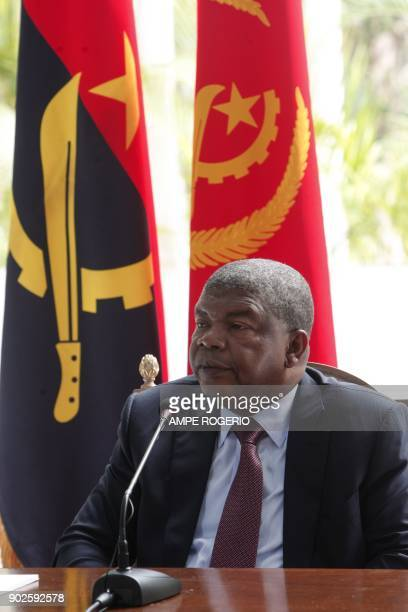 Angolan President Joao Lourenco gives his first press conference after his election on January 8 2018 to mark his first 100 days in office at the...