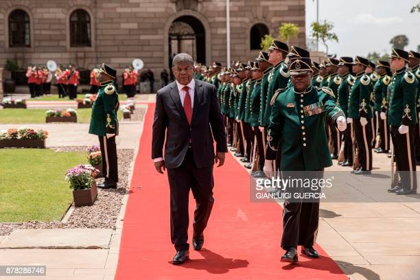 Angolan President Joao Lourenco reviews the Guard of Honor upon his arrival at Union Buildings during the Angolan President state visit on November...