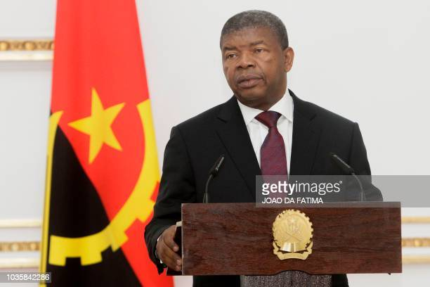 Angolan President Joao Lourenco speaks during a meeting with Portugal's prime minister in Luanda on September 18 2018 Lourenco and Portuguese Prime...