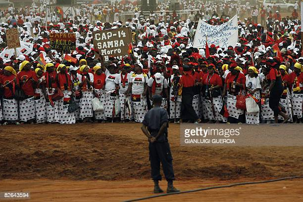 Angolan ruling Popular Movement for the Liberation of Angola party supporters attend on September 3 2008 the final election campaign rally of Angolan...