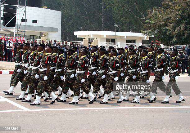 Angolan soldiers attend a parade marking a half century of independence of CongoBrazzaville from France on August 15 2010 in Brazzaville As the...