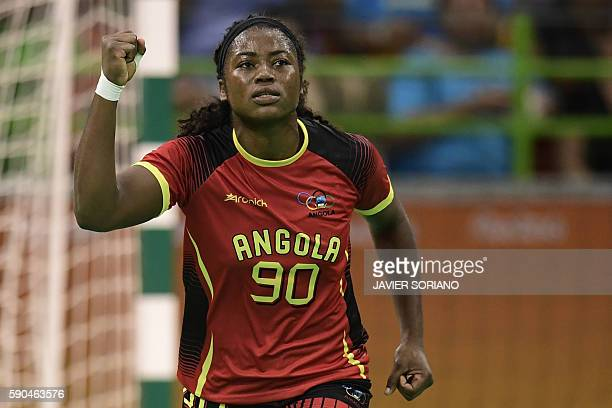 Angola's centre back Isabel Evelize W Guialo celebrates a goal during the women's quarterfinal handball match Russia vs Angola for the Rio 2016...