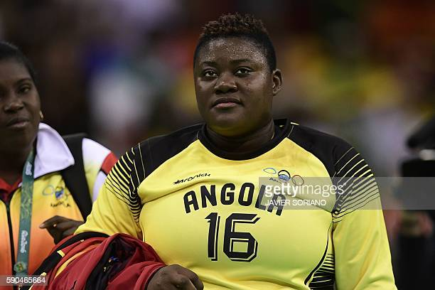 Angola's goalkeeper Teresa Patricia Almeida reacts after being defeated by Russia at the end of the women's quarterfinal handball match Russia vs...