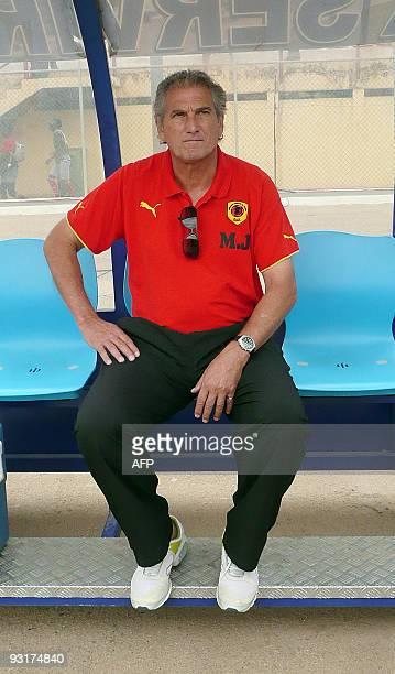Angola's national football coach Manuel Jose sits in the Cidadela Stadium in Luanda on November 14 2009 Angola is hosting the Confederation of...