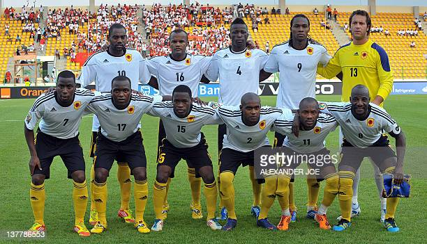 Angola's national football team player midfielder Campos Djalma Braune M striker Da Costa Mateus Geraldo defender Quiami Miguel Geraido defender...