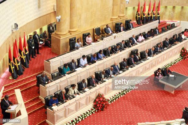 Angola's newly elected president Joao Lourenco delivers his first speech at the Angola Nation Assembly in Luanda on October 16 2017 Angolan President...