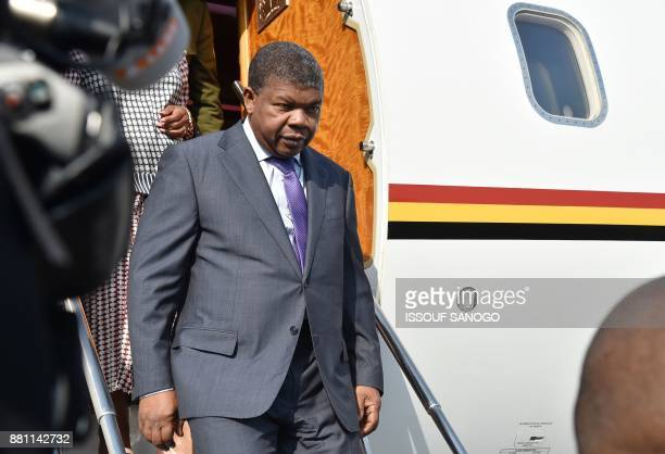 Angola's President Joao Lourenco arrives at the Felix HouphouetBoigny airport in Abidjan on November 28 ahead of the Afican Union European Union...