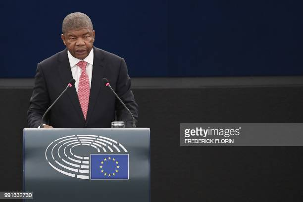 Angola's President Joao Lourenco delivers a speech during a plenary session at the European Parliament on July 4 2018 in Strasbourg eastern France