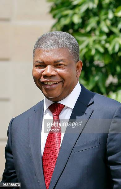 Angola's President Joao Lourenco poses prior to his meeting with French President Emmanuel Macron at the Elysee Presidential Palace on May 28 in...