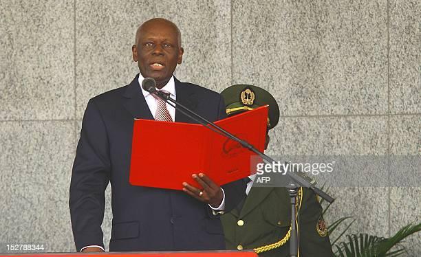 Angola's President Josa Eduardo dos Santos speaks during his inauguration ceremony in Luanda on September 26 2012 President Jose Eduardo dos Santos's...