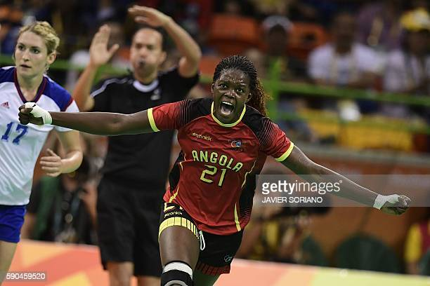 Angola's right back Magda Alfredo Cazanga celebrates a goal during the women's quarterfinal handball match Russia vs Angola for the Rio 2016 Olympics...