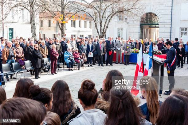 Angouleme's mayor Xavier Bonnefont speaks during the inauguration of a commemorative plaque honoring Jewish people deported from Angouleme on March...