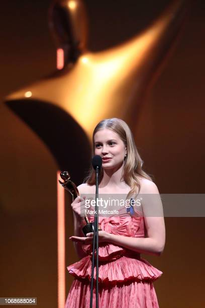 Angourie Rice accepts the AACTA Award for Best Lead Actress for Ladies in Black during the 2018 AACTA Awards Presented by Foxtel at The Star on...