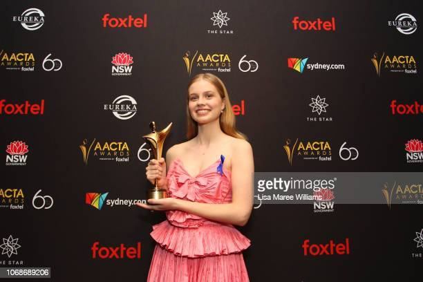 Angourie Rice poses in the media room with an AACTA Award for Best Lead Actress during the 2018 AACTA Awards Presented by Foxtel at The Star on...