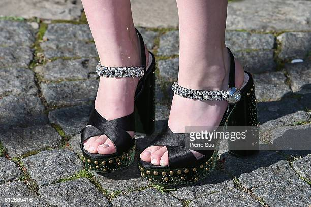 Angourie Rice shoe detail arrives at the Miu Miu show as part of the Paris Fashion Week Womenswear Spring/Summer 2017 on October 5 2016 in Paris...