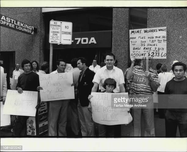 Angry and placardbearing pickets line Castlereagh 6t outside the Coal Industry tribunal today The pickets coalminers from the Mate's Collieries had...