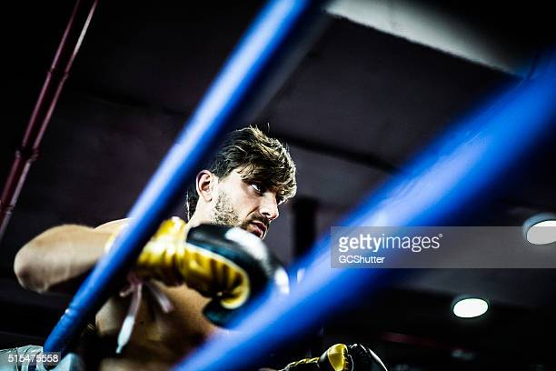 Angry Boxer in a Boxing Ring