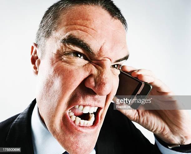 Wütend Geschäftsmann brüllt in Handy