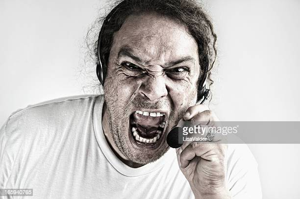 angry call centre person - lisa strain stock pictures, royalty-free photos & images