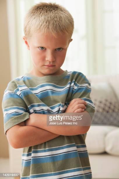 Angry Caucasian boy