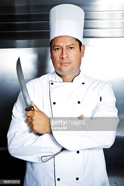 angry chef holding large knife