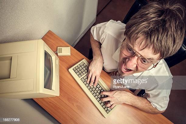 angry computer tech nerd - ongeduldig stockfoto's en -beelden