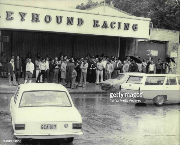 Angry crowd of soccer supporters outside closed gates at Wentworth Park this afternoonSome of them travelled as for as Hurstville to see Ampol cup...