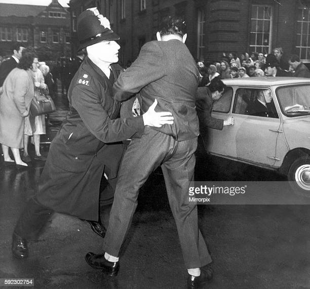 Angry crowd scenes greet accused outside Hyde Court Manchester 28th October 1965 The Moors murders were carried out by Ian Brady and Myra Hindley...