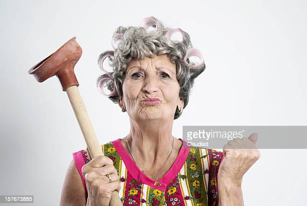 angry elderly housewife - very ugly women stock photos and pictures