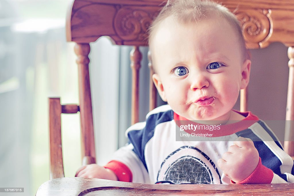 Angry face boy : Stock Photo