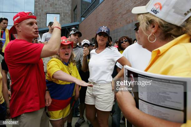 Angry fans vent their frustration at officials during the United States F1 Grand Prix at the Indianapolis Motor Speedway on June 19, 2005 in...