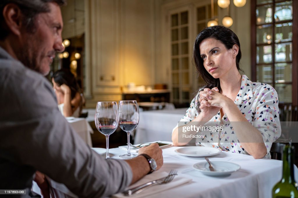 Angry Girlfriend During A Date With Her Boyfriend In A Luxury Restaurant High Res Stock Photo Getty Images