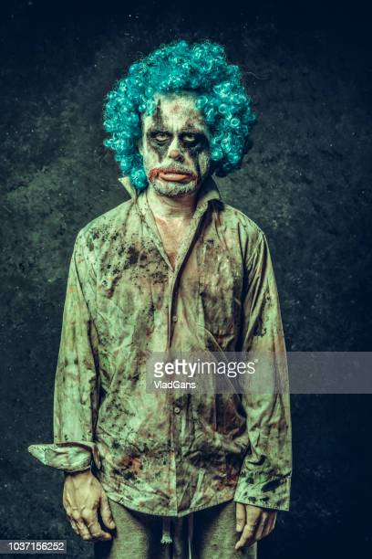 angry halloween clown - scary clown stock photos and pictures