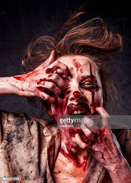 angry halloween clown - female autopsy photos stock photos and pictures