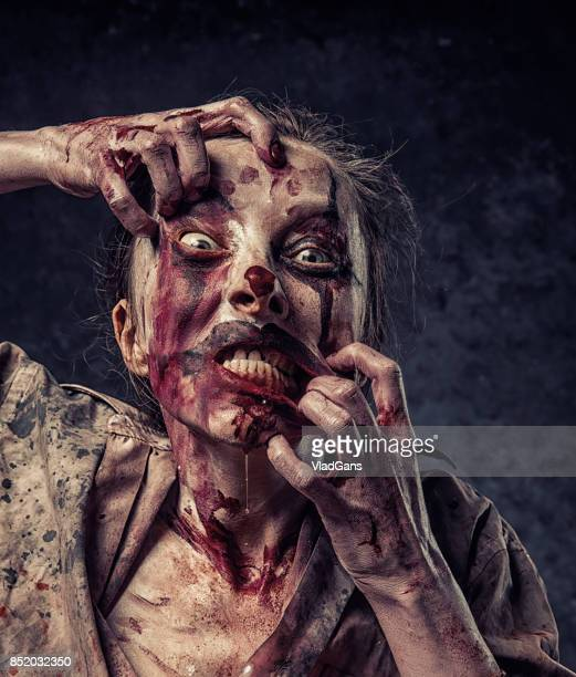 angry halloween clown - female autopsy stock pictures, royalty-free photos & images