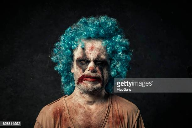 angry halloween clown - sad clown stock photos and pictures